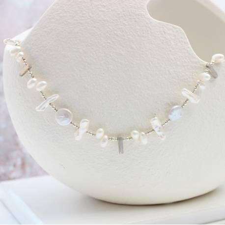 cleopatra modern pearl and silver wedding necklace, statement jewellery for a bride on her wedding day