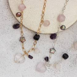 Statement Gold or Silver Chain Necklace with Pearls