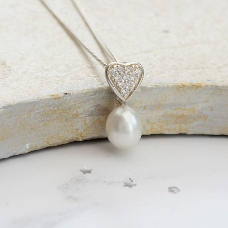 dewdrop single white teardrop pearl and diamante heart wedding pendant