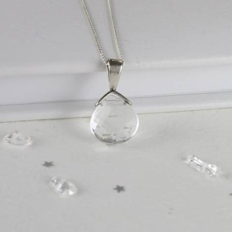 faceted crystal wedding pendant a simple delicate necklace for a bride