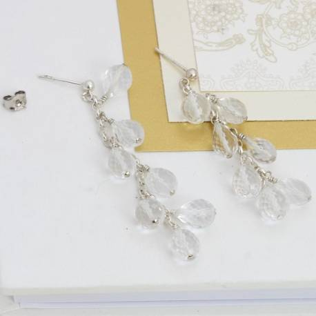 handmade faceted krystallos long crystal drop wedding earrings perfect crystal jewellery for a bride