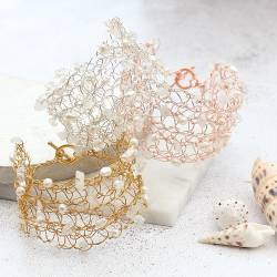 gold crochet wedding cuff with white pearls, crystal and moonstone, handmade jewellery gifts for a modern bride