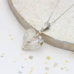 harlequin glass heart wedding pendant necklace handmade in bridal white
