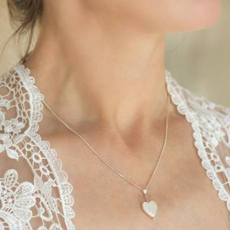 heart shaped bridal white pearl pendant necklace, delicate pearl wedding jewellery