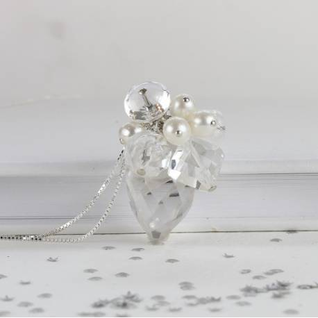 helena large crystal teardrop pendant wedding necklace handmade with white pearl and crystals