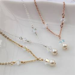 imogen handmade pearl and crystal wedding necklace in ivory on silver or gold, affordable necklaces for a brides