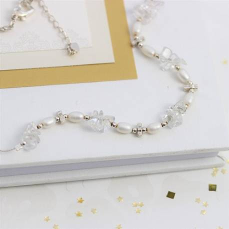 keimau handmade pearl and crystal on a fine silver strand wedding necklace. delicate jewellery for a bride