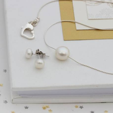 keimau single white pearl necklace with matching pearl stud earrings, pearl jewellery for a bride