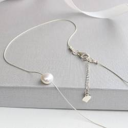 keimau single white pearl on fine silver chain wedding necklace, delicate pearl necklace for a bride