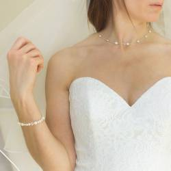 luna white pearls on silver chain wedding necklaces classic pearl jewellery for a bride