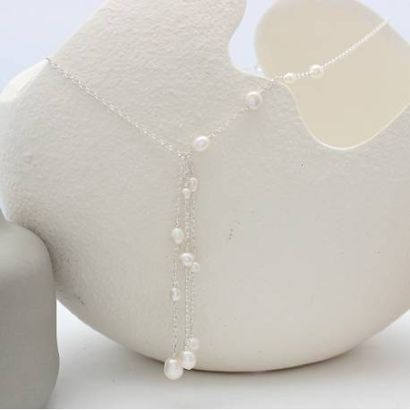 luna dangle pearl on silver wedding necklaces in white , pearl jewellery for a bride