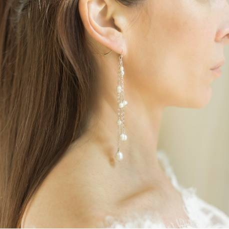 luna bridal white pearl on silver dangle earrings, long statement pearl earrings for a bride