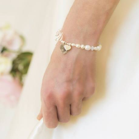 luna white pearl and swarovski crystal wedding bracelet with silver heart personalised for a bride