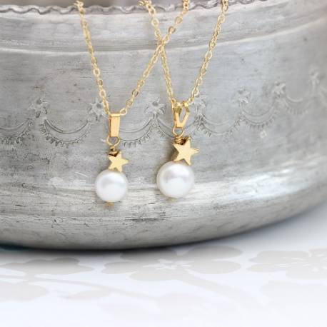 mama et moi bridal white pearl wedding pendants with gold star for bridesmaids and bride