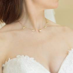 marina handmade wedding necklace in gold, affordable pearl and crystal jewellery for a bride