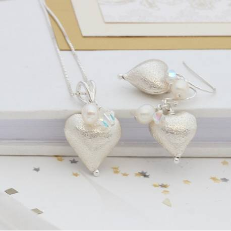 osaline silver heart necklace and earrings set with bridal white crystal and crystal, silver wedding jewellery for the bride