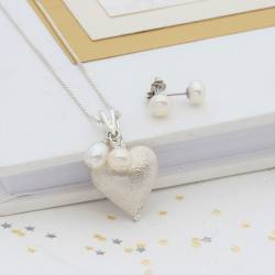 rosaline silver heart necklace with white pearls and pearl studs, a silver heart and pearl jewellery set for a bride