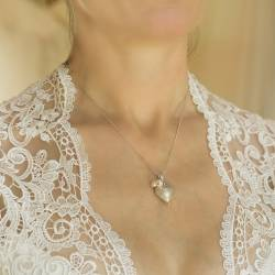 rosaline silver heart wedding pendant necklace with bridal white crystal and pearl or pearls, handmade jewellery for a bride