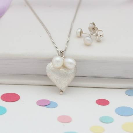 small rosaline silver heart necklace and white pearl stud wedding jewellery set