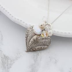 montagu large decorative heart wedding pendant with pearls and crystals, statement silver jewellery for a bride