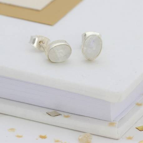 moonstone ear studs, simple delicate earrings for a bride on her wedding day