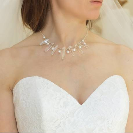 octavia dramatic crystal point and pearl wedding necklace, handmade crystal jewellery for a bride