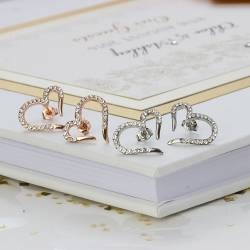 open heart wedding earrings with pave crystal platinum and rose gold, statement jewelery for a bride and bridesmaids