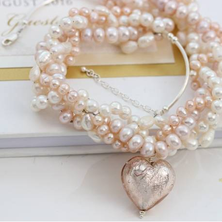 dramatic murano heart and pearl wedding necklace in white and pale pink,modern pearl jewellery for a bride to make a statement