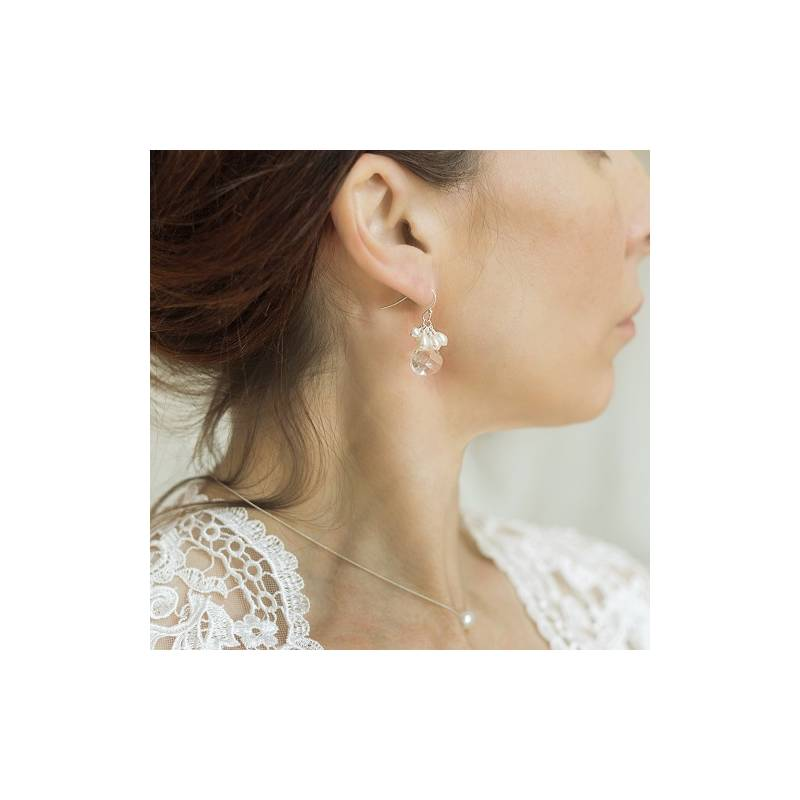 6f4e95361 crystal teardrop and pearl wedding earrings, on silver fish hooks, studs or  clipon for. Loading zoom
