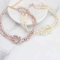 pearl wedding choker necklace in white or pink with heart clasp in silver or gold, modern pearl jewellery for a bride
