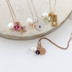 personalised charm wedding necklace in silver, rose gold or gold with coloured crystals perfect for bridesmaids