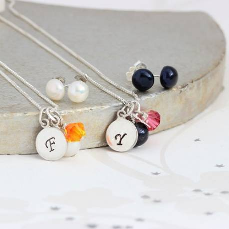 silver disc charm wedding necklace and earrings set with pearl and orange or pink crystals personalised bridesmaids gifts