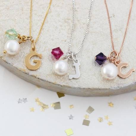 letter charm wedding necklace in silver rose gold or gold with green, pink or purple crystal, jewellery gifts for bridemaids
