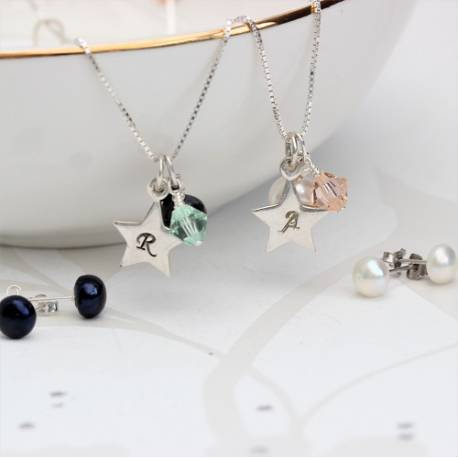 silver star charm, pearl and green or peach crystal wedding necklace with pearl studs, personalised gift set for bridesmaids