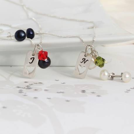 silver tag charm wedding necklace and earrings with red or olive green crystal, personalised set for bridesmaids gifts