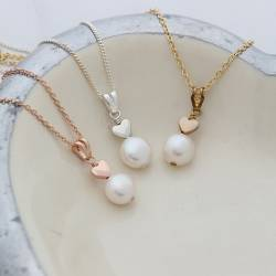 white pearl wedding pendant necklaces with silver, rose gold or gold heart, delicate pearl jewellery for a bride