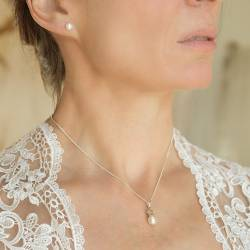 Pearl Pendant with Silver Star and Pearl Stud Set