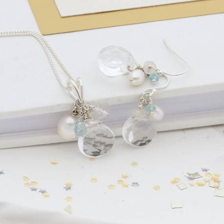 crystal, pearl, moonstone and blue topaz wedding pendant and earrings, something blue jewellery for a bride
