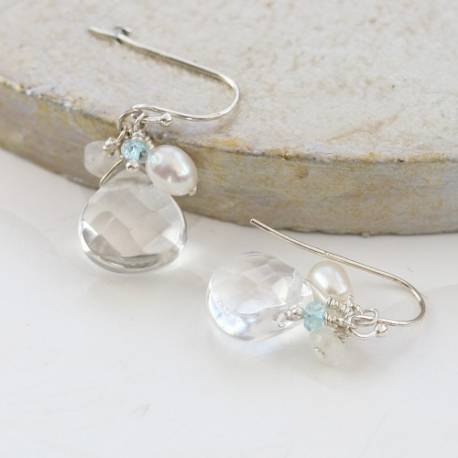 handmade crystal, pearl, moonstone and blue topaz wedding earrings, something blue jewellery for a bride