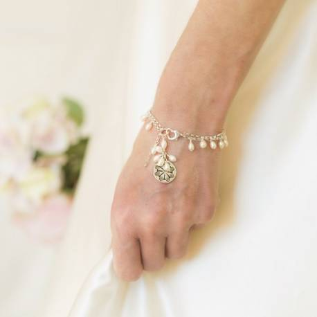 handmade bridal white pearl and silver coin bracelet, delicate pearl jewellery for a bride (