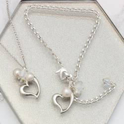 sterling silver open heart wedding necklace and bracelet, white pearl and swarovski jewellery set for a bride