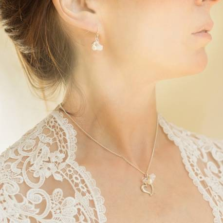 sterling silver open heart necklace and drop earrings in bridal white, delicate pearl swarovski crystal wedding jewellery set