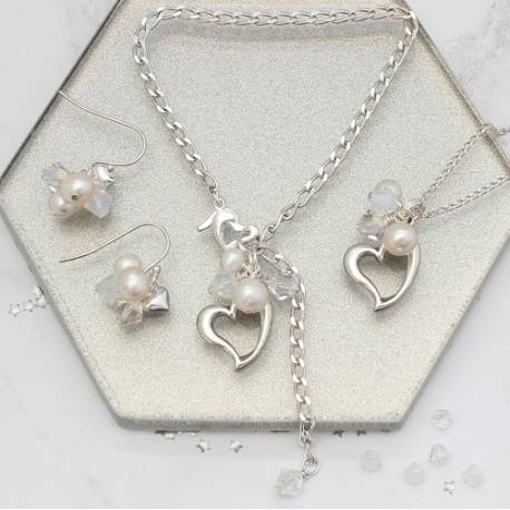 sterling silver open heart wedding jewellery set in white necklace, earrings and bracelet with pearl and swarovski crystals