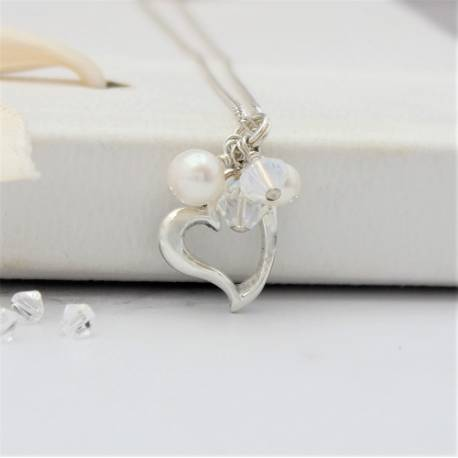 sterling silver open heart wedding necklace with white pearls and crystals , swarovski jewellery for a bride