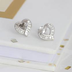 silver heart and pave crystal wedding stud earrings, silver jewellery for a bride