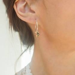 Silver Hoop Earrings with Silver Hearts