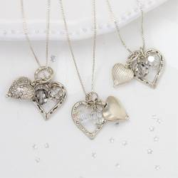 silver two heart wedding necklace with crystals, silver swarovski jewellery for brides and bridesmaids gifts