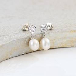diamante stud wedding earrings with a bridal white teardrop pearl, pearl jewellery for a bride