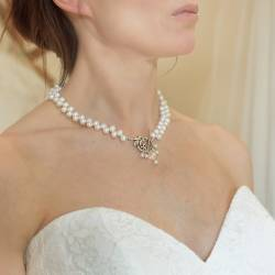 White Top Drilled Pearl Choker Necklace
