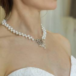 white top drilled pearl wedding choker necklace with decorative clasp and crystal, vintage pearl jewellery for bride